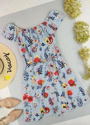 Платье натуральное на плечи с тонкий пояском в цветочный принт 12р.