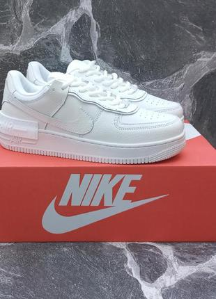 Женские кроссовки nike air force белые, кожаные
