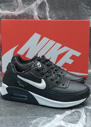 Женские кроссовки nike air max 90 кожаные, черные