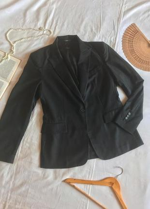 Базовый тёмно-серый пиджак из шерсти и кашемира (размер 40-42)