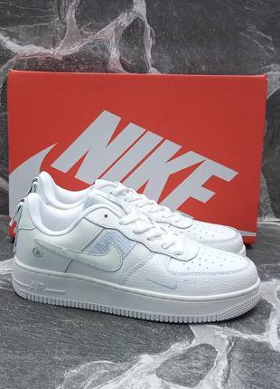 Женские кроссовки nike air force кожаные, белые, осенние