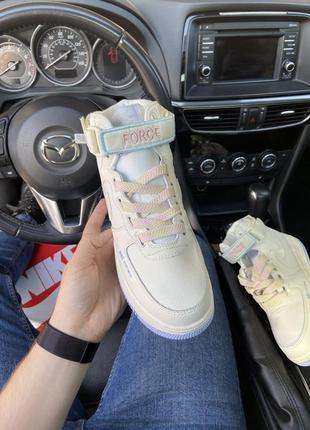 Air force 1 high beige violet кроссовки найк женские высокие форсы аир форс кеды обувь3 фото