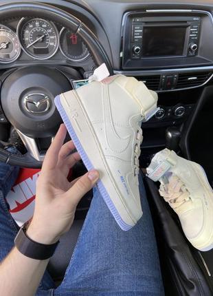 Air force 1 high beige violet кроссовки найк женские высокие форсы аир форс кеды обувь1 фото