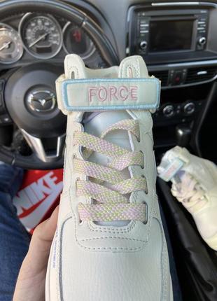 Air force 1 high beige violet кроссовки найк женские высокие форсы аир форс кеды обувь4 фото