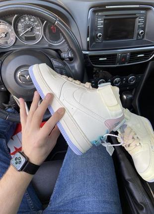 Air force 1 high beige violet кроссовки найк женские высокие форсы аир форс кеды обувь5 фото