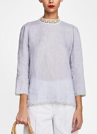 Блуза фактурный лен, кроше zara