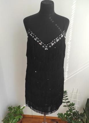 Шикарное платье с бахромой в стиле гетсби, мафия, чикаго 16 р от julien macdonald