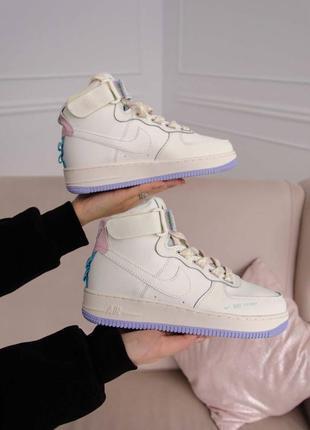 Nike air force utility high violet кроссовки найк женские форсы аир форс кеды высокие
