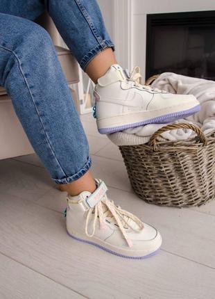 Nike air force utility high violet кроссовки найк женские форсы аир форс кеды высокие4 фото