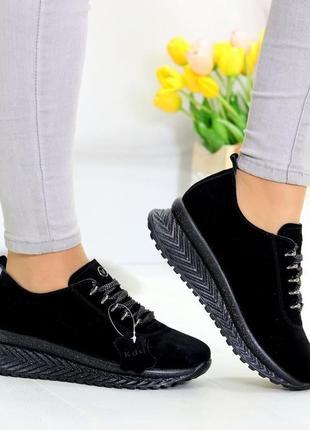 Черные замшевые кроссовки, женские кожаные кроссовки 36-41р код 8665