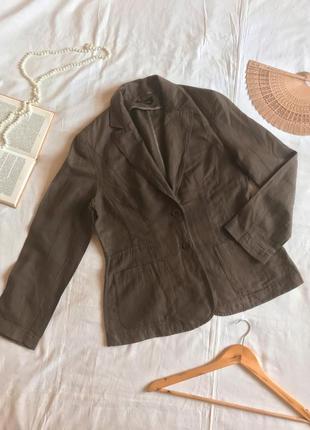 Летний коричневый пиджак из натурального льна apanage (размер 42-44)
