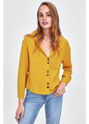 Блуза zara актуального теплого гірчичного , розмір м🌼