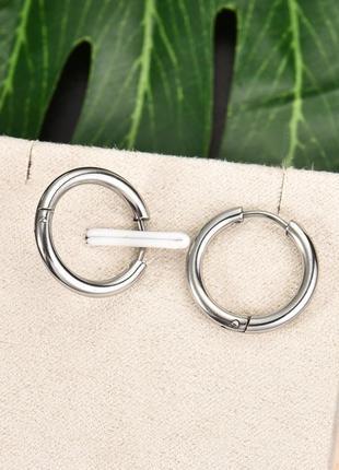 2шт 12мм крутые серьги кольцо сережки унисекс медицинская сталь