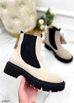 Сапоги ботинки челси натуральная замша светло бежевый