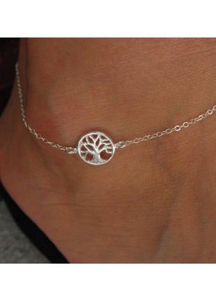 Браслет цепочка на ногу ножку красивая этно бохо летний браслет  украшение с деревом чакры