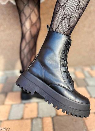 Сапоги ботинки натуральная кожа черный2 фото