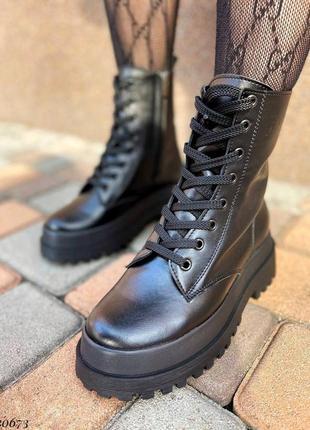 Сапоги ботинки натуральная кожа черный6 фото