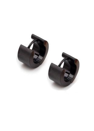 Крутые серьги унисекс сережки черный кольцо широкое рок 2шт медицинская сталь