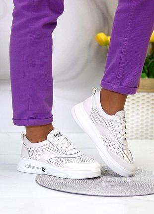 Белые кожаные кроссовки, женские кожаные кроссовки, білі шкіряні кросівки 36-39,41р код 8188