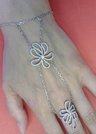 Браслет микросеттинг из серебра с кольцом на палец - арт 970159228
