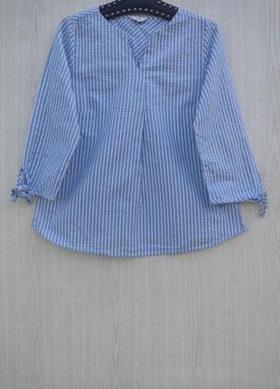 Хлопковая красивая блузка в бело голубу полоску