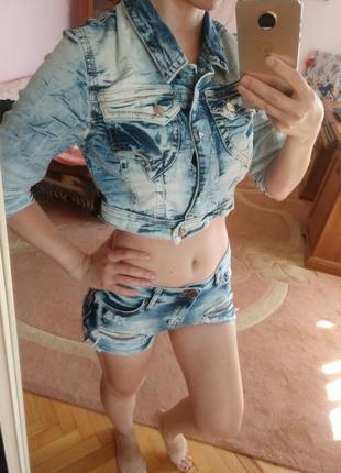 Женский джинсовый костюм, шорты, куртка