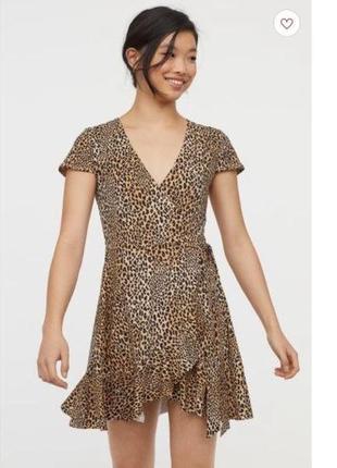 Платье, анималистичный принт, короткое платье, платье на запах