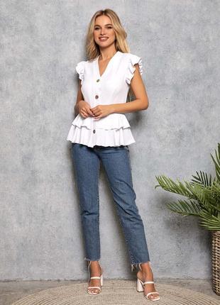 Блуза на пуговицах воланы баска белый, розовый, мята