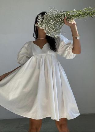 Платье свободное коттон белое