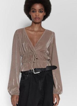 Топ с длинным рукавом, блуза, рубашка м от zara оригинал