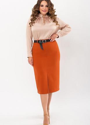 Терракотовая юбка с кожаным поясом