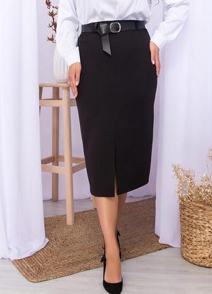 Классическая чёрная юбка с поясом