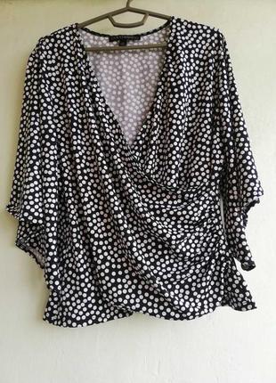 Летняя блузка,блуза,футболка на запах в горошек, размер xl coco bianco