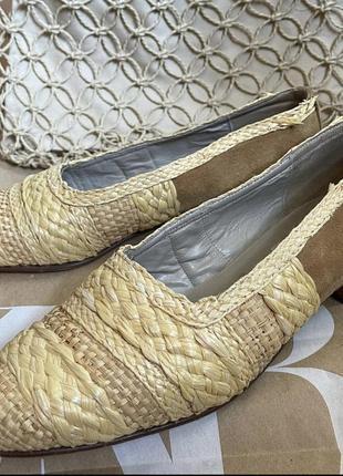 Винтажные туфли соломка кожа
