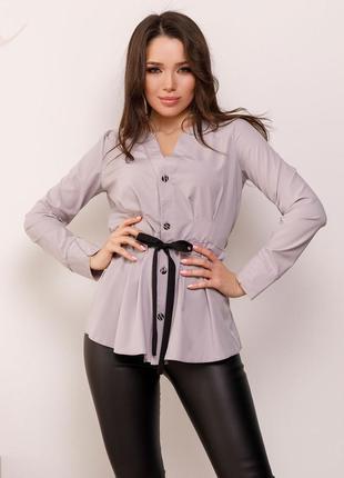 Приталенная блуза на кулиске желтый, серый, розовый, зеленый