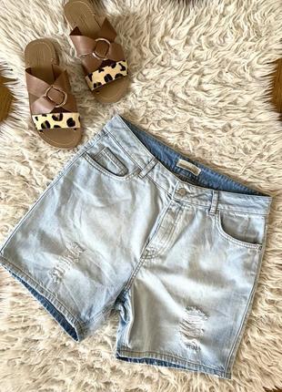❤️брендовые джинсовые шорты с фабричными дырами