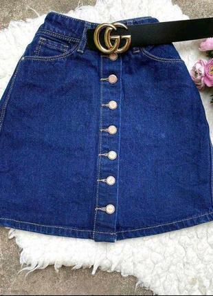 Юбка джинсовая на пуговицах синяя