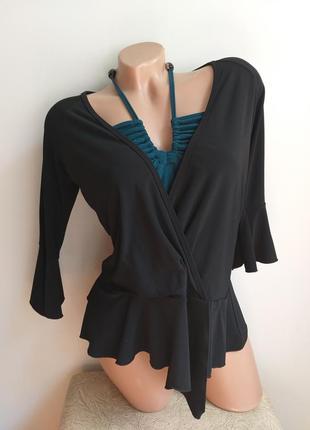 Progress. необычная блуза. футболка с баской. туника с бусами.