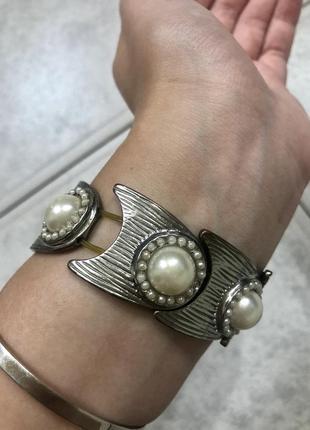 Шикарный винтажный браслет с жемчугом в стиле клеопатры 🍃