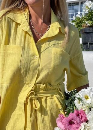 Женский костюм шорты и рубашка лён