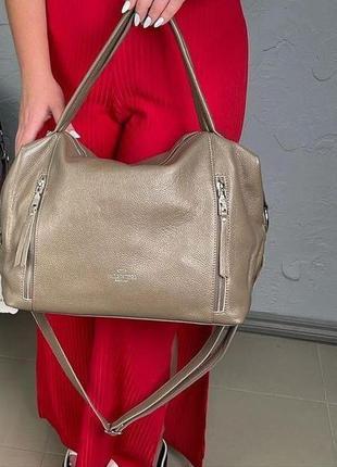 Жіноча стильна шкіряна сумка в кольорах беж