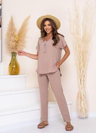 42-52рр🔥костюм лёгкий летний стильный модный красивый комплект брюки футболка блуза