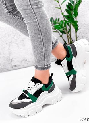 🌺🌸🍃* •. ¸кроссовки женские черные + белый + зеленый* •. ¸🍃🌸🌺