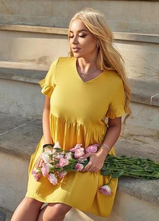 Платье летнее женское легкое свободное короткое батал льняное