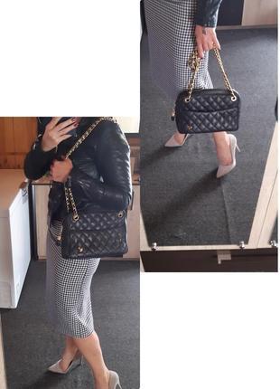 Шикарная стеганная кожаная сумка на цепочке, bias2 фото
