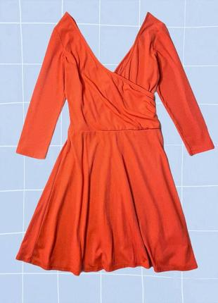 Яркое короткое оранжевое мини платье в рубчик с запахом topshop