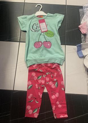 Детский набор для девочки вишенки лосины футболка