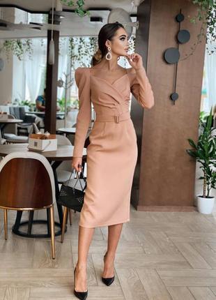 Миди платье футляр в обтяжку с поясом красивое декольте фл