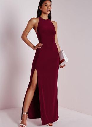 Летняя распродажа 🔥🔥🔥 бордовое вечернее роскошное платье с вырезом на ноге