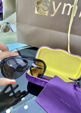 Шикарные чёрные бежевые брендовые очки маска2 фото